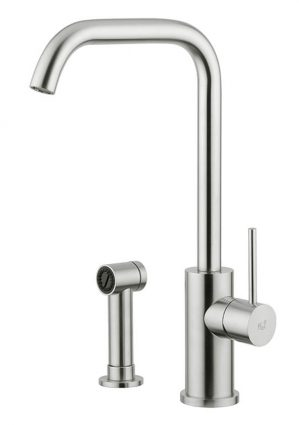 Brigantino's stem is designed to provide water flow to the centre of the sink, the ideal position for domestic and also large professional kitchens