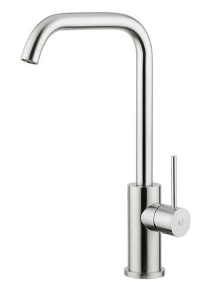 Designed for kitchens with large work surfaces or very deep sinks, Brigantino's stem is designed to provide water flow to the centre of the sink, the ideal position for domestic and also large professional kitchens or those which require a mixer to be mounted on the wall, away from the basin.