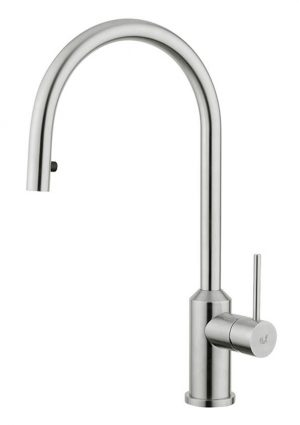Stainless steel kitchen tap Galeone, made in Italy by Breschi